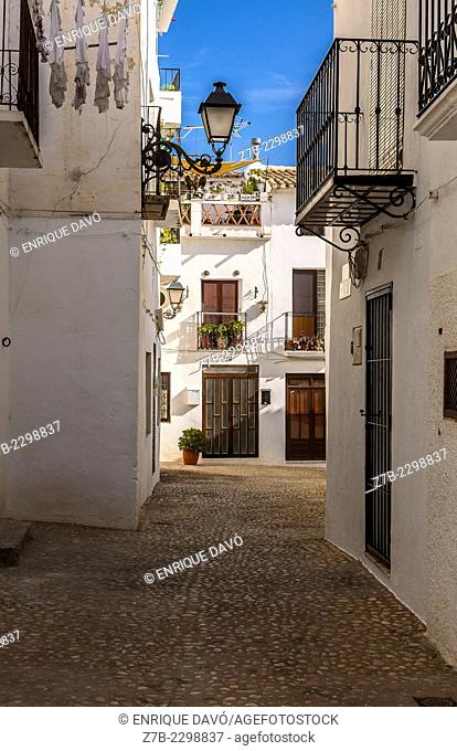 View of a white street in Altea town, Alicante province, Spain