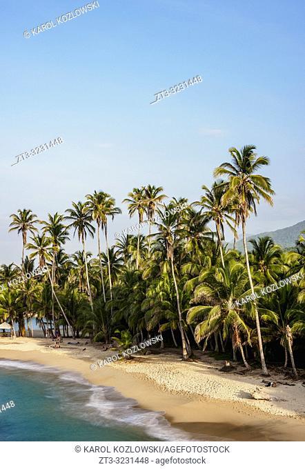 El Cabo San Juan del Guia beach, elevated view, Tayrona National Natural Park, Magdalena Department, Caribbean, Colombia