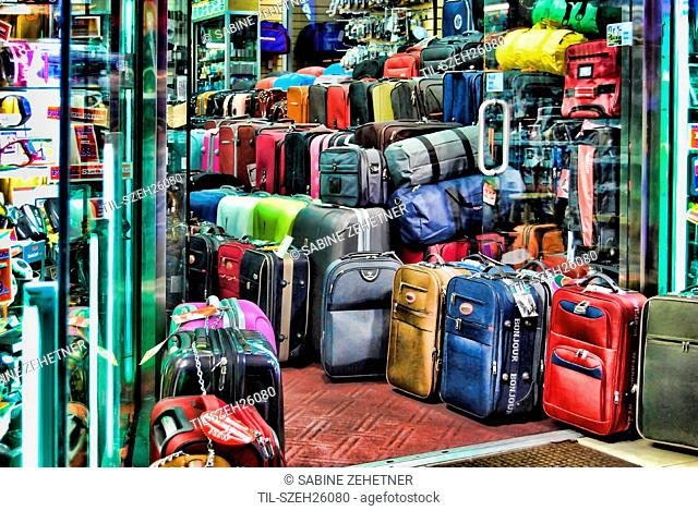 A colorful HDR of a luggage store on New York Citys Times Square