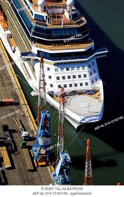Aerial photograph of the luxuriy passenger ship of Celebrity Equinox docking in the port of Haifa