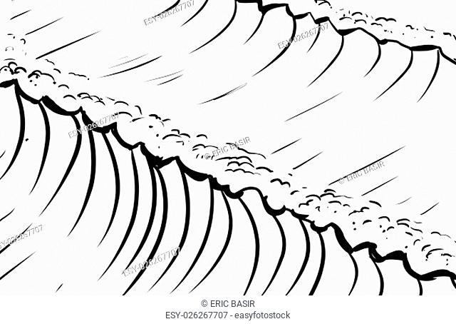 Outlined sketch of tall tidal waves in ocean