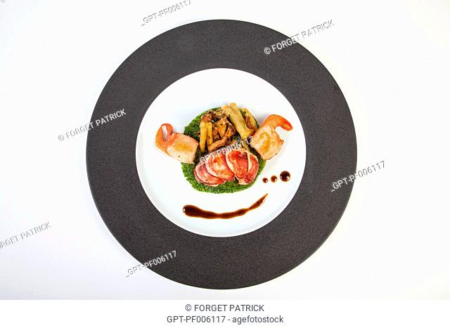 LOBSTER FRICASSEE WITH WAX BEANS, RECIPE FROM THE MICHELIN-STARRED CHEF LAURENT CLEMENT, COURS GABRIEL, CHARTRES, EURE-ET-LOIR (28), FRANCE