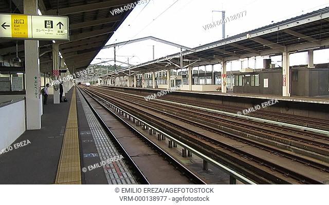 Non-stopping Tohoku Shinkansen bullet train at Shiroishizao, Miyagi Prefecture