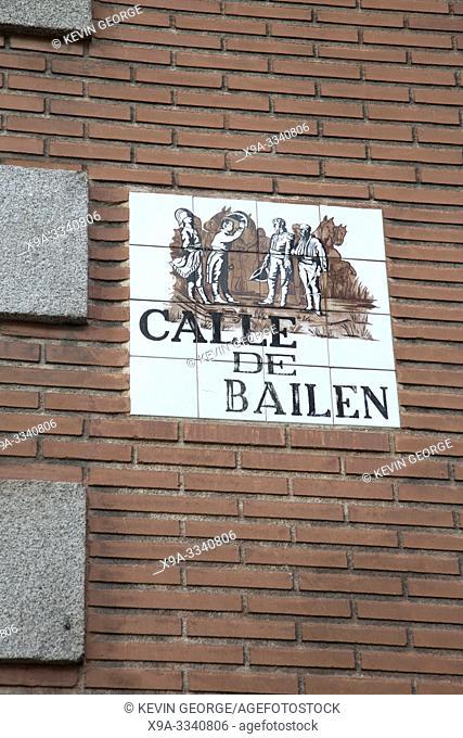 Calle Bailen Street Sign; Madrid; Spain