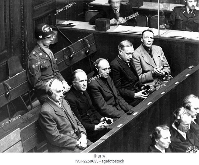 The accused industrialists (l-r) Friedrich Flick, Otto Steinbrinck, Konrad Kaletsch, Bernhard Weiß, and Hermann Terberger in the dock during the trial before...