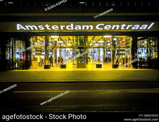 Amsetrdam, Netherlands. Northern Entrance to the Capitol's Central Railway Station at Night