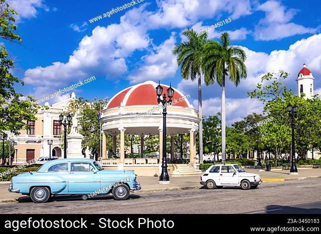 Classic car at the Jose Marti Square, Cienfuegos, Republic of Cuba, Caribbean, Central America