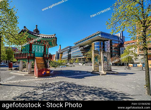April 19, 2020, Berlin: The Potsdamer Platz in Berlin withte on a beautiful spring day in wonderful imperial weather and bright blue sky with the pavilion of...