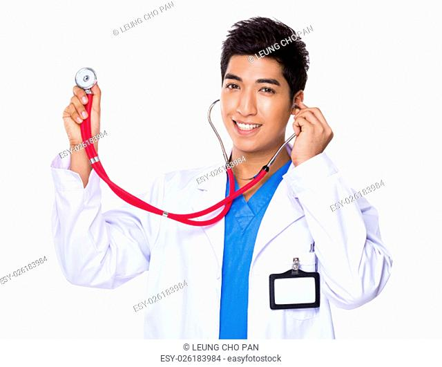 Doctor man use of the stethoscope