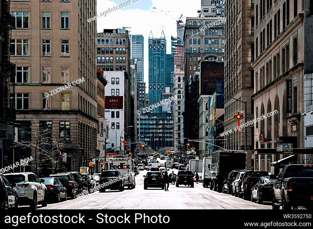 New York City - USA - Mar 19 2019: Lafayette Street view of Chinatown in Lower Manhattan