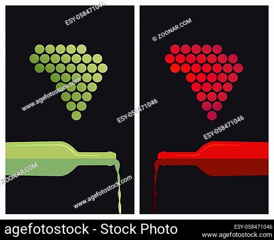 Weiß und Rotwein mit Trauben