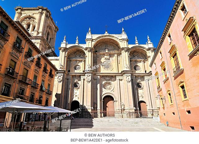 Spain, Andalusia, Granada, plaza de las Pasiegas, the Cathedral (Cathedral of the Annunciation) with its Baroque main facade dated 16th century