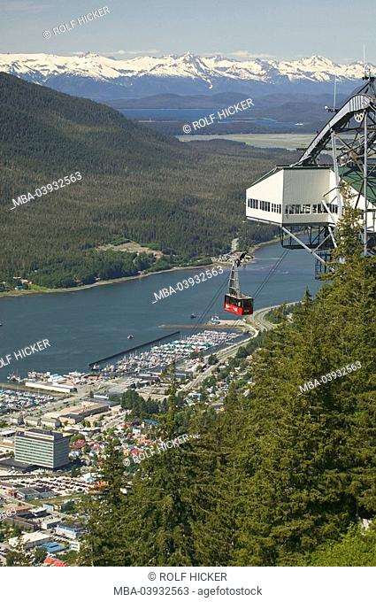 usa, Alaska, Inside passage, Juneau, city-overview, harbor, Gastineau Channel, funicular-gondola, North America, city, port, forest, mountains, mountain-chain