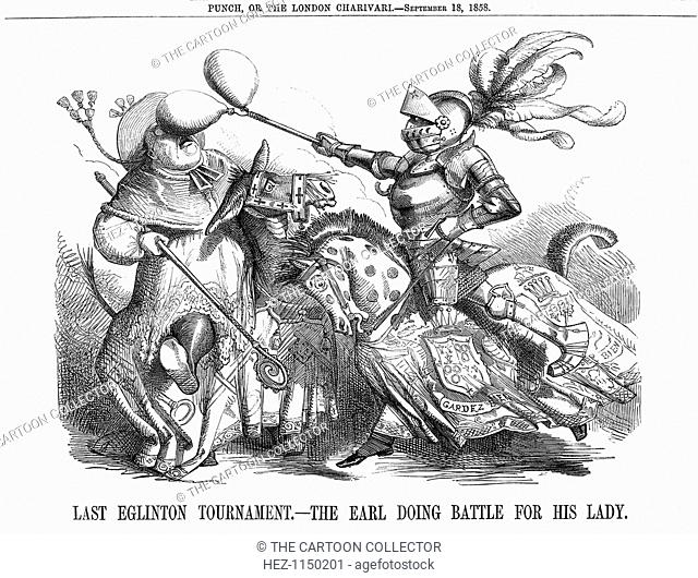 'Last Eglinton Tournament. - The Earl doing Battle for his Lady', 1858. Lord Eglinton, Lord Lieutenant of Ireland, is the knight in shining armour
