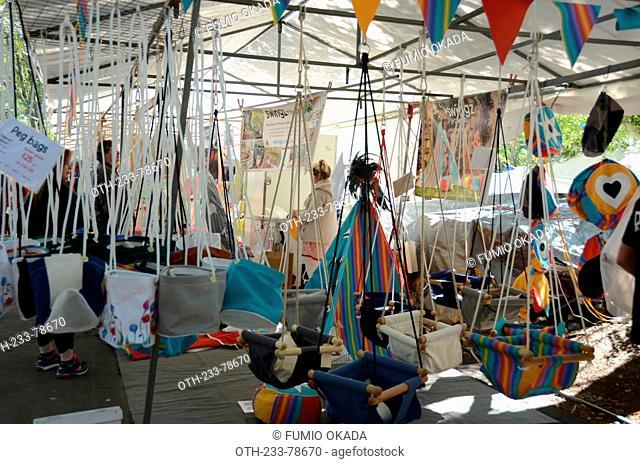 A stall selling swing and peg bags at Eumundi markets, Sunshine Coast, Queensland, Australia