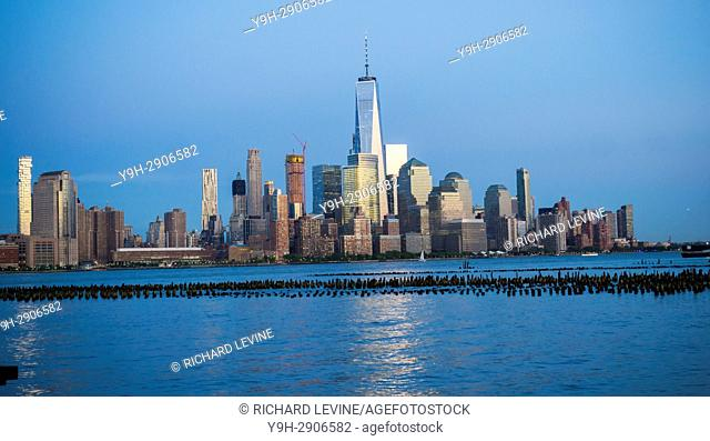 The Lower Manhattan skyline of New York with One World Trade Center
