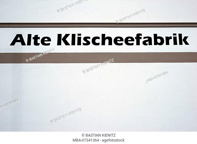 The lettering and the logo of the old Klischeefabrik, an apartment building in Darmstadt