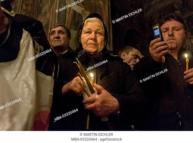 Easter liturgy, Easter service in the early morning of Easter Sunday of midnight till 4 o'clock in the monastery of Cozia in Romania