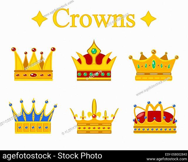 Set of gold king crown or pope tiara. Vector illustration