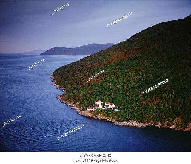 Aerial View of Cap au Saumon Lighthouse at Sunrise, Saguenay-St Lawrence Marine Park, Charlevoix, Quebec