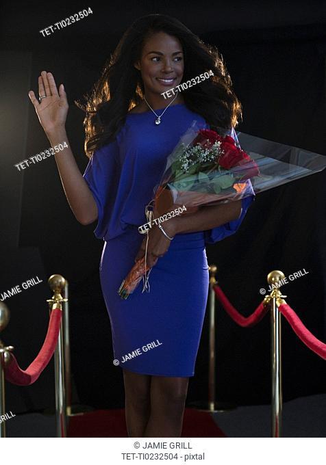 Female celebrity at red carpet event
