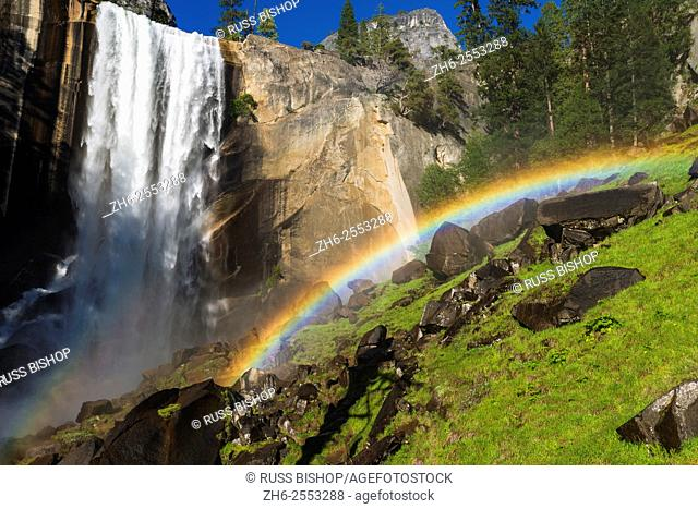 Vernal Fall and rainbow on the Mist Trail, Yosemite National Park, California