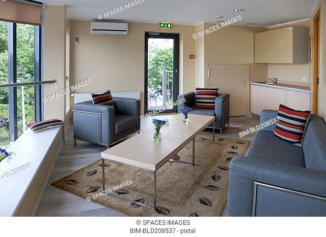 The interior of a modern hotel in Tallinn