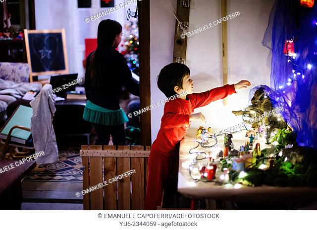 Child decorate the crib at home