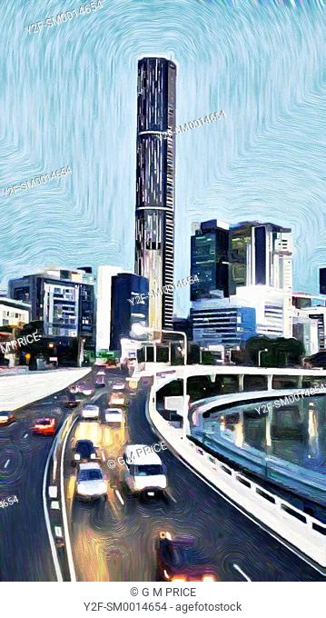 painting filter of Brisbane city skyline at dusk with motorway traffic and river