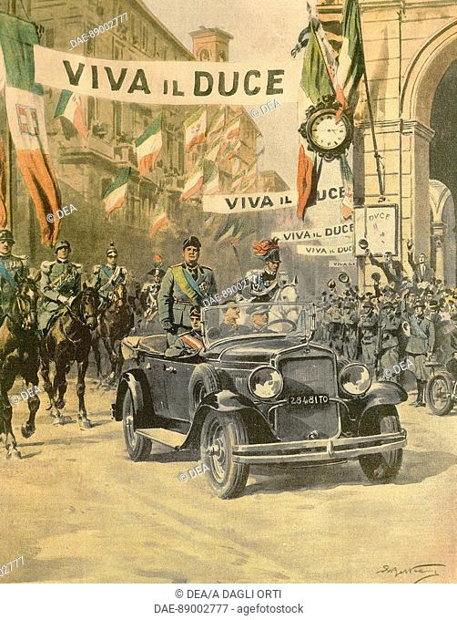 Mussolini's triumphant arrival in Turin, by Achille Beltrame (1871-1945) from an issue of La Domenica del Corriere, October 1932