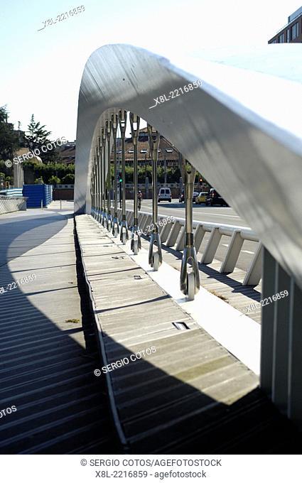 Details of a bridge over Urumea River, San Sebastian, Basque Country, Spain