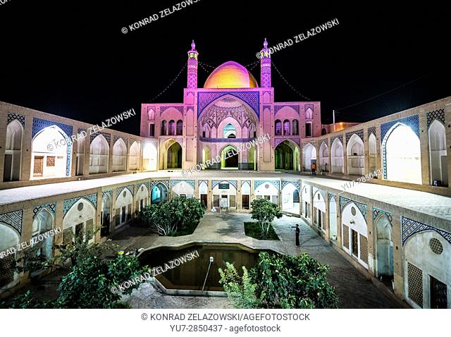 Courtyard in historical shrine, Agha Bozorg mosque in Kashan city, capital of Kashan County of Iran
