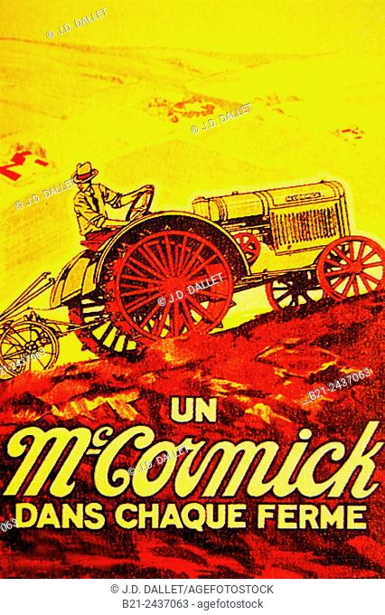 France.  Poster, 1950, for the American Mc. Cormick's tractors ( A Mc. Cormick in every farm. . . )