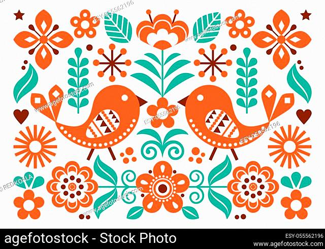 Spring garden ornament wth birds on white, vibrant decoration with flowers, swirls and leaves in orange, brown and tuquoise green
