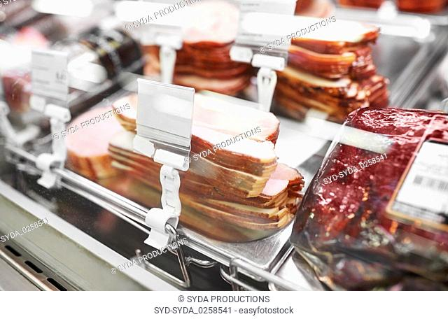 ham at grocery store stall