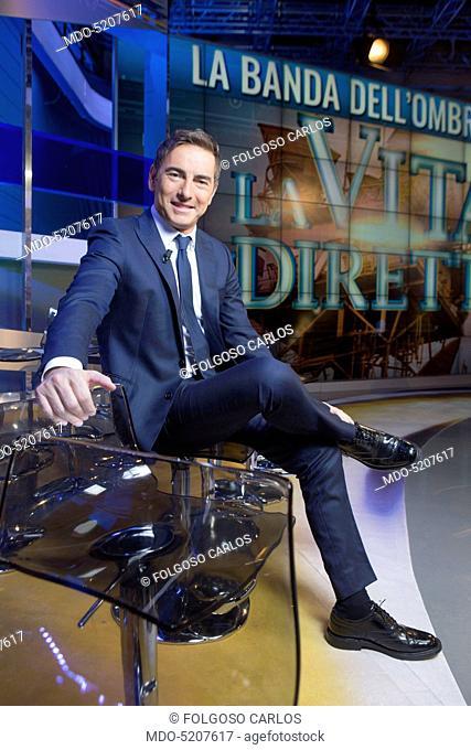 TV host Liorni Marco during a break in the studios of the TV program La vita in diretta. Rome, Italy. 4th November 2015