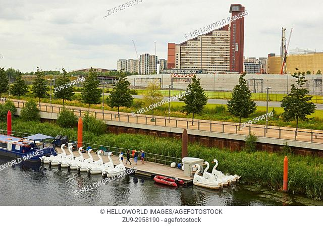 Swan shaped pedal boats for rent in the Queen Elizabeth Olympic Park, Stratford, London