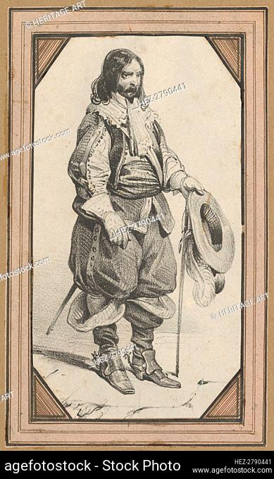 Man holding a cane and a hat, mid-19th century. Creator: Victor Adam