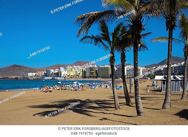 Playa de las Canteras beach Santa Catalina district Las Palmas de Gran Canaria island the Canary Islands Spain Europe