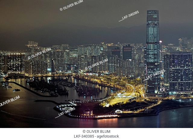 View of Hong Kong from Victoria Peak towards the Yau Tsim Mong District and the International Commerce Centre, The Ritz-Carlton by night, Kowloon, Hong Kong