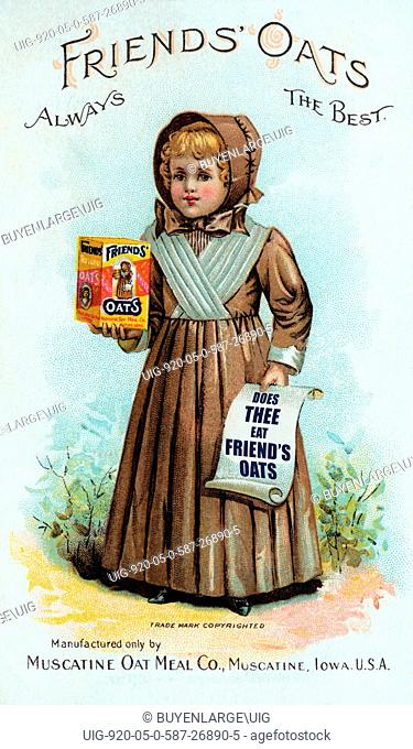 A Victorian trade card advertising Friends' Oats using a little Quaker girl as there trademark. Made in Muscatine Iowa