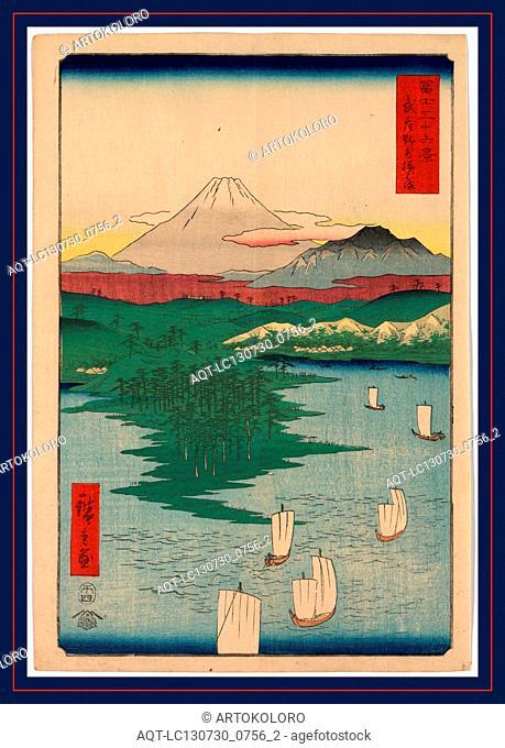 Musashi noge Yokohama, Noge, Yokohama in Musashi Province., Ando, Hiroshige, 1797-1858, artist, 1858., 1 print : woodcut, color ; 35.9 x 24.7 cm