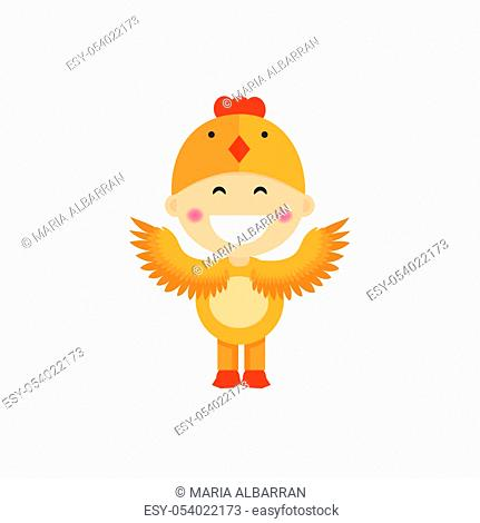 Isolated boy dressed as a chicken. Vector illustration