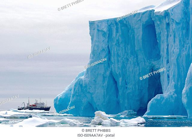 Spirit of Enderby ship, iceberg, ice floe in the southern ocean, 180 miles north of East Antarctica, Antarctica