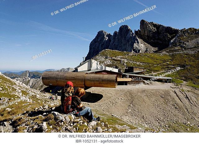 Karwendel Nature Park, Karwendel information center, telescope at Mt karwendel near Mittenwald, Upper Bavaria, Germany, Europe