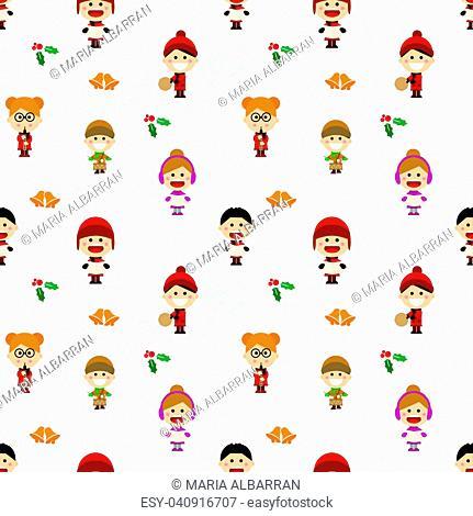 Christmas seamless pattern with children singing carols. Vector illustration