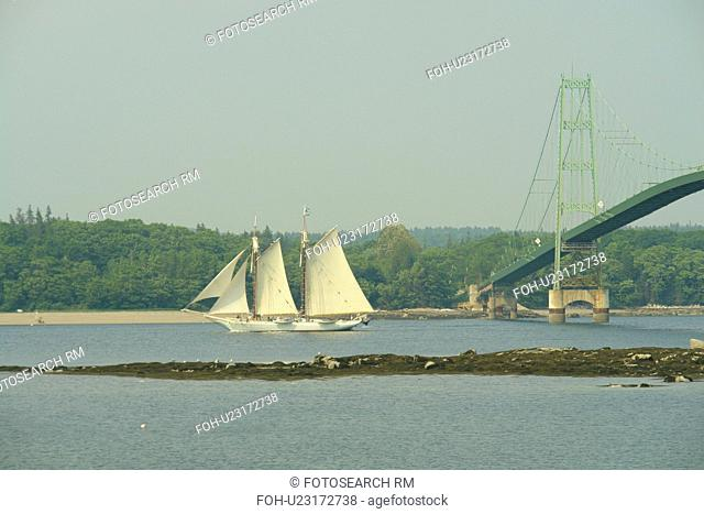 Deer Isle, ME, Maine, Deer Isle Bridge, suspension bridge, schooner, tall ship, sailing vessel, island, waterway