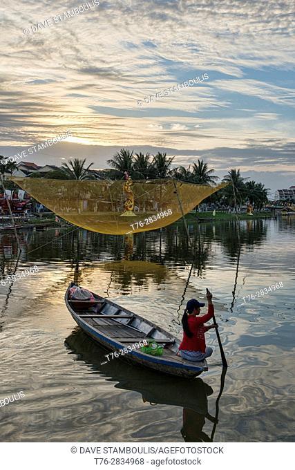Traditional fishing net on the Thu Bon River, Hoi An, Vietnam