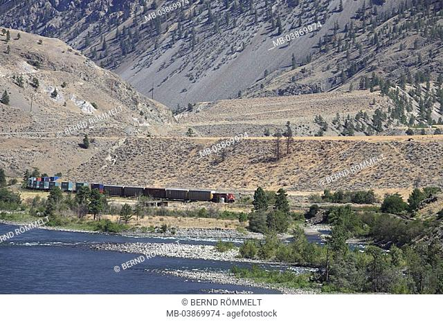 Canada, British Columbia, landscape, mountains, river bed, Fraser River, freight train, North America, steppe, steppe-landscape, mountains, meager, waters