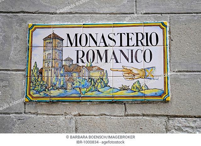 Sign, Spanish tiles, azulejos, Monasterio Romanico, monastery, Poble Espanyol, Spanish village, open-air museum, Montjuic, Barcelona, Catalonia, Spain, Europe